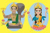 foto of lakshmi  - vector illustration lord Vishnu and mata Lakshmi - JPG