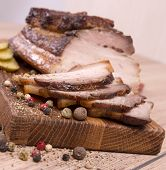 foto of pork belly  - Hot smoked pork belly with peppers  - JPG