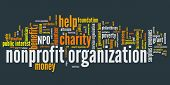 foto of word charity  - Nonprofit organizations issues and concepts word cloud illustration - JPG