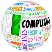 stock photo of understanding  - Compliance words globe following rules - JPG
