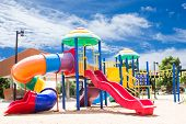 stock photo of playground school  - Scene Of PlayGround Park With Blue Sky Background - JPG