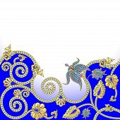 picture of precious stone  - illustration background with flowers of gold and precious stones - JPG