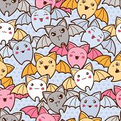 stock photo of kawaii  - Seamless kawaii cartoon pattern with cute bats - JPG