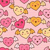 foto of kawaii  - Seamless kawaii cartoon pattern with cute hearts - JPG