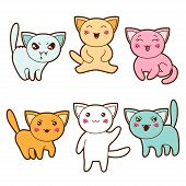 stock photo of kawaii  - Set of kawaii cats with different facial expressions - JPG