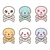 stock photo of kawaii  - Set of kawaii skulls with different facial expressions - JPG