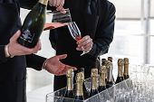 picture of sparkling wine  - beverage service in a buffet with sparkling wine - JPG