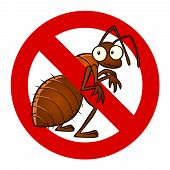 picture of anti  - Anti pest sign with a funny cartoon ant - JPG