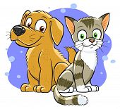 image of domestic cat  - Illustration of smiling cartoon cat and dog on the abstract background - JPG