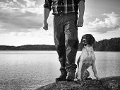 image of bitches  - The hunter and his English Springer Spaniel puppy on the shore - JPG