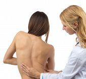 picture of auscultation  - Doctor research patient spine scoliosis deformity backache isolated on a white background - JPG