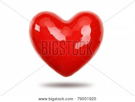Red heart isolated on white background concept for love, romance and valentine's day