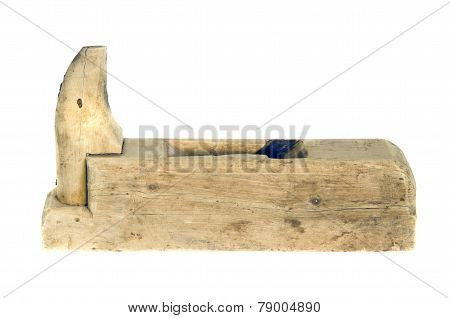 Old Grunge Wooden Carpenter Tool Planer Isolated On White