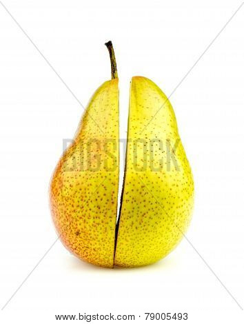 Vertical Shot Of Colorful Corella Pear Halves Perfectly Cut