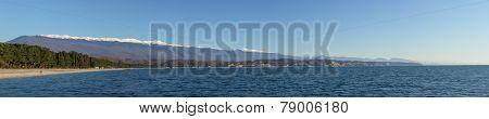 Sea Coast And The Mountains