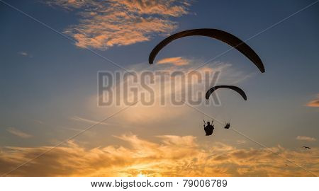 2 paragliders soaring into the sunset