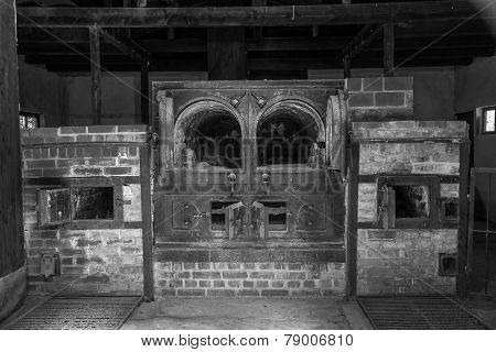Vintage looking black and white of Dachau crematorium #1