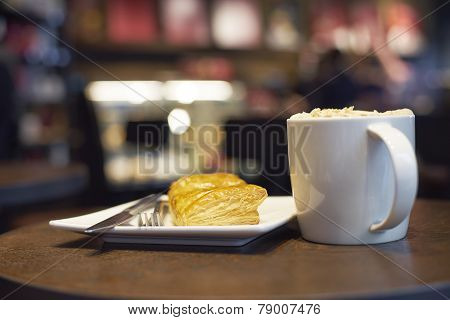 Food And Coffee On Table In Cafe