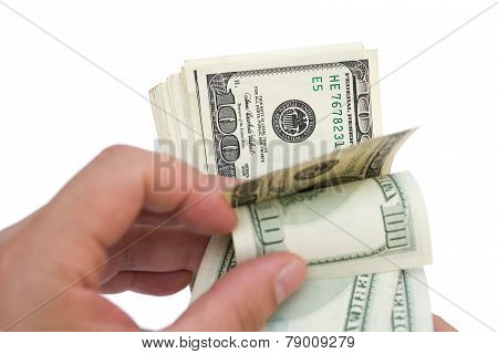 Counting Stack Of Usd Dollars With Clipping Path