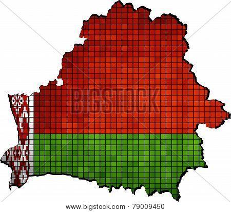 Belarus map with flag inside