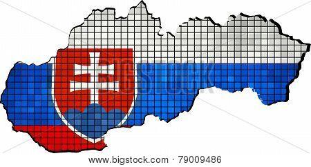 Slovakia map with flag inside