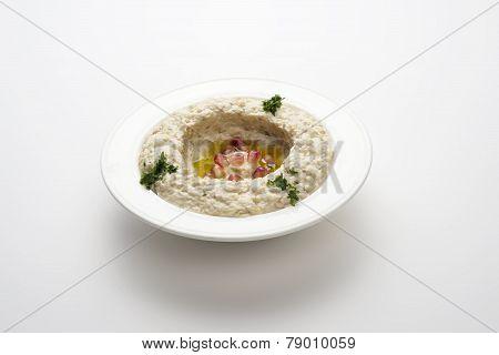 Mtabbal, Lebanese food of cooked eggplant isolated on white