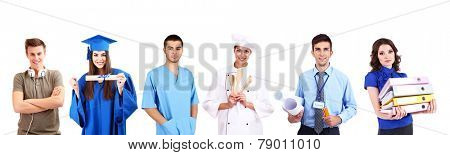 People of different professions in collage isolated on white