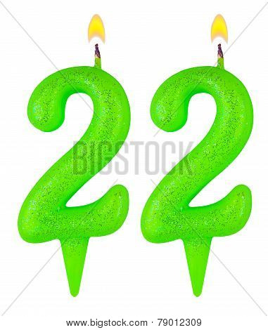 Birthday Candles Number Twenty Two Isolated