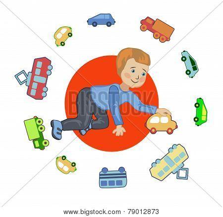 A Boy Plays In A Chauffeur