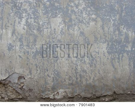 Worn Gray  Painted Wall With Damage And Blathering