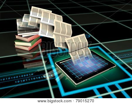 Book pages flying into a tablet computer. Digital illustration.
