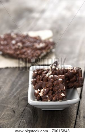 Chocolate With Puffed Rice Bar On Table