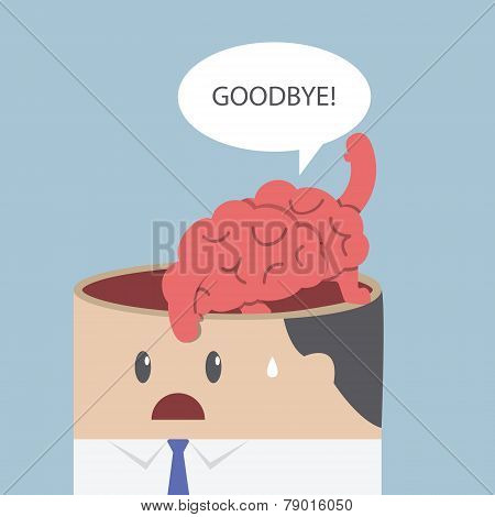Brain Say Goodbye And Go Out Of Businessman Head