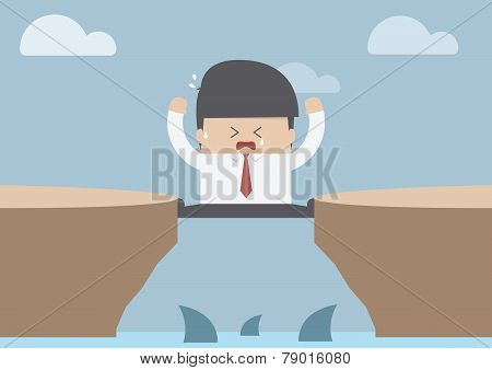 Businessman Between The Cliff With Shark, Business Crisis Concept