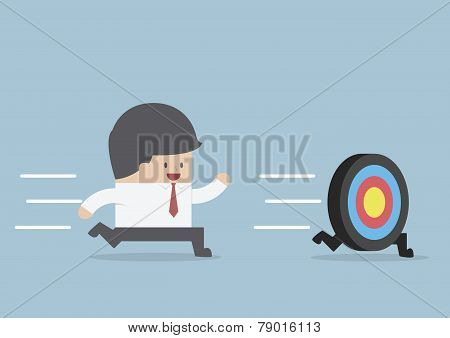 Businessman Try To Catch The Target