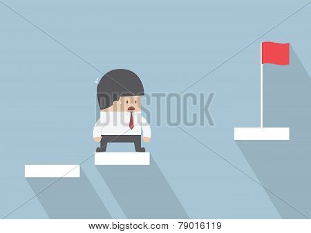 Businessman Facing With The Missing Step To Success