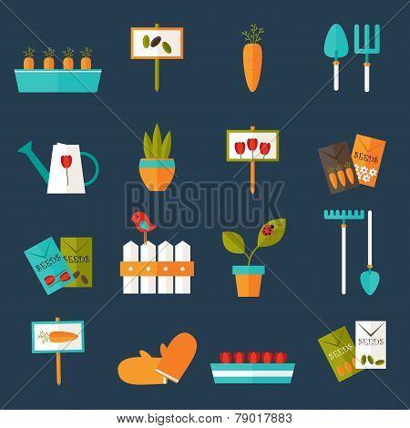 Gardening Set Icons Over Blue