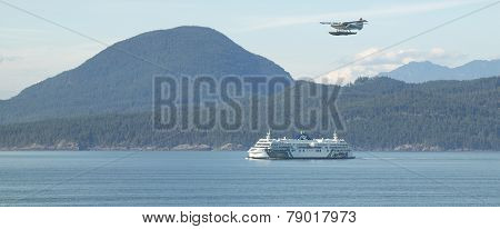 Cruise Ship And Hydroplane In Vancouver. British Columbia. Canada