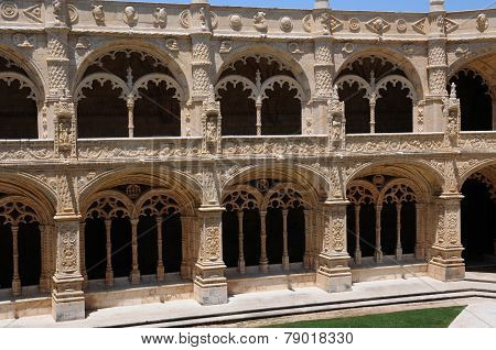 Portugal, Cloister Of Jeronimos Monastery In Lisbon