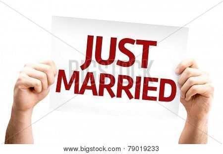 Just Married card isolated on white background