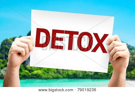 Detox card with a beach on background