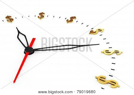 Time Is Money Concept. Clock With Dollar Signs