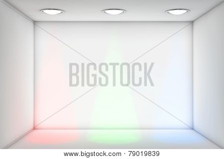 White Room With Rgb Lights For Exhibition