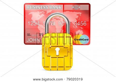 Credit Card With Security Chip As Padlock