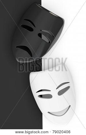 Tragicomic Theater Masks. Sad And Smile Masks