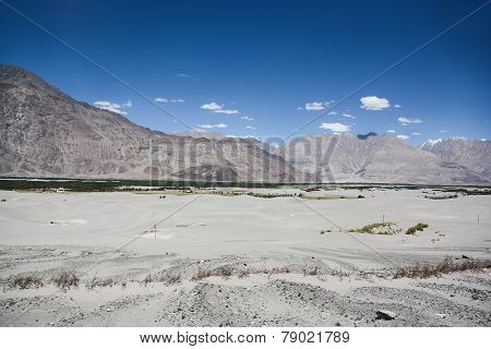 Desert among mountain range in the north of India