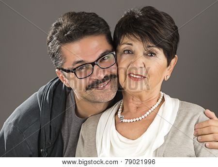 Adult Man and his Senior Adult Mother
