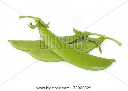 Fresh Sugar Snap Peas On White