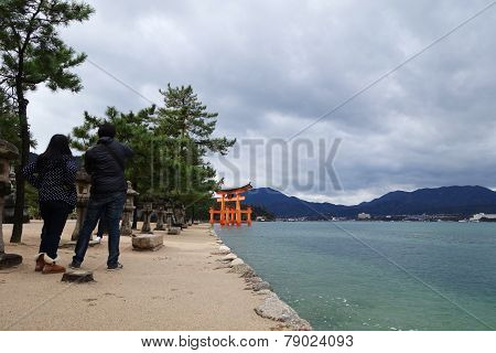 Tourists Visit Itsukushima Shrine In Miyajima, Japan