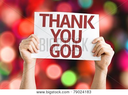Thank You God card with colorful background with defocused lights
